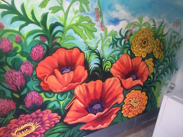 garden mural portland, portland mural, portland oregon mural, portland oregon muralist, poppy mural, flower mural
