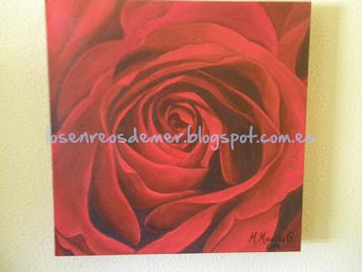 Rosa roja. Óleo sobre lienzo.