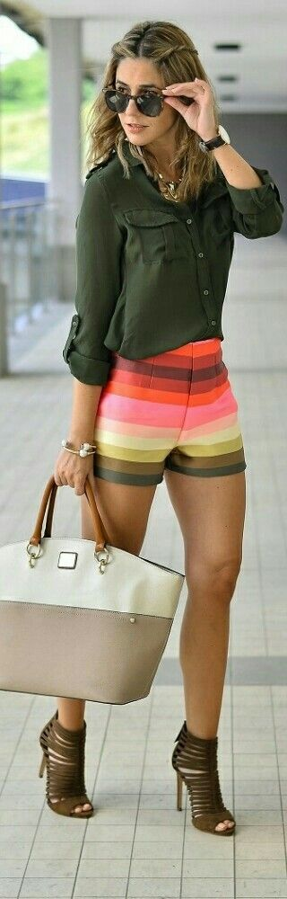 Rainbow Shorts by JollyChic