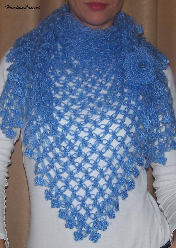 Handmade Laremi: Blue crochet shawl scarf