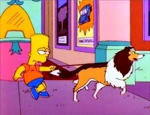 Ayudante de Santa, el perro nuevo de la familia simpsons, el perro nuevo de bart, la targeta de credito de bart