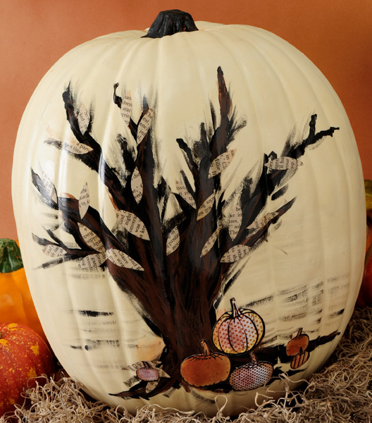 Faux Pumpkin Makeover With Paint Paper And Mod Podge