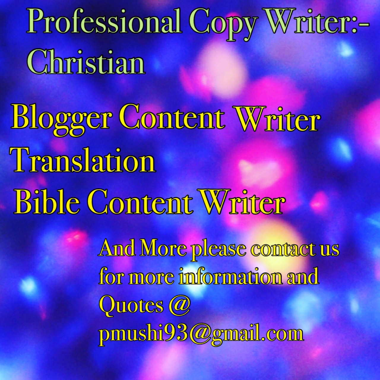 For Proffessional Christian Writer