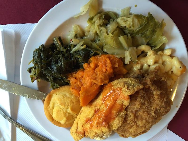 Fried catfish and fried chicken at Soul Restaurant's Sunday dinner buffet