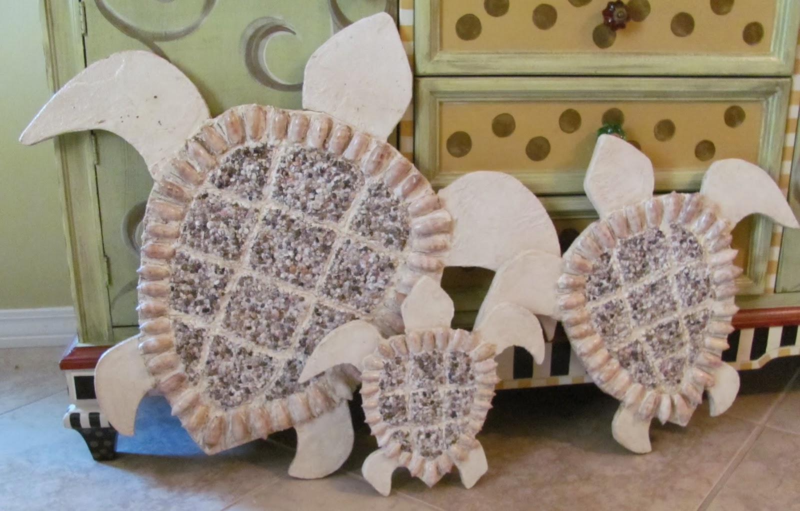 outdoor sea turtle art using wedi board