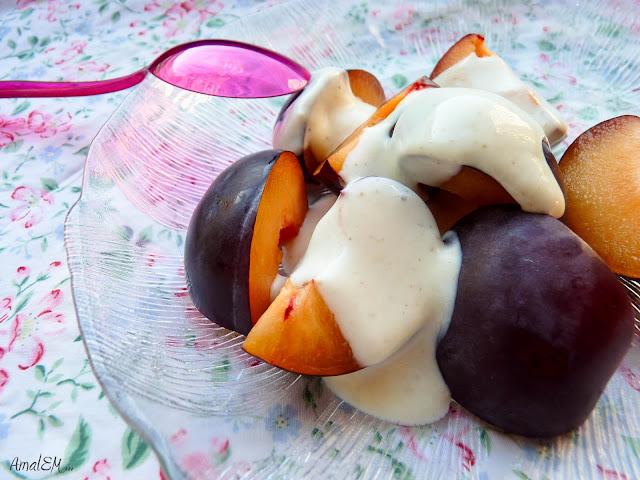 Ça titille les papilles !, Prune, Yaourt, Cardamome, Miel, Dessert rapide
