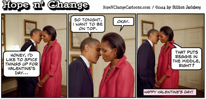 obama, obama jokes, cartoon, humor, political, michelle, valentine, valentine's day, gay, reggie love, sex, stilton jarlsberg, hope and change, hope n' change, conservative, tea party