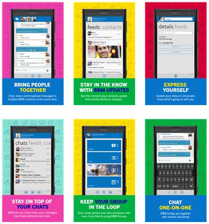 Preview tampilan aplikasi BBM pada Windows Phone