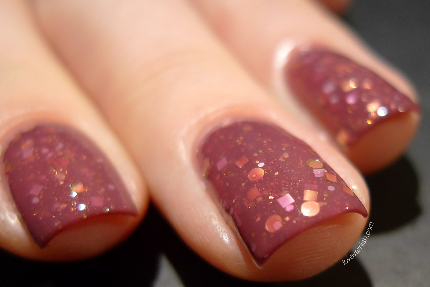 HARE Bohemian Holiday Oh What Fun It Is To Love brick red pink glitter nail polish