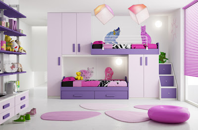 dormitorio rosa y lila