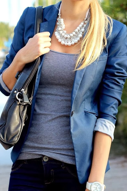 Gorgeous Blue Coat And Black Leather Bag