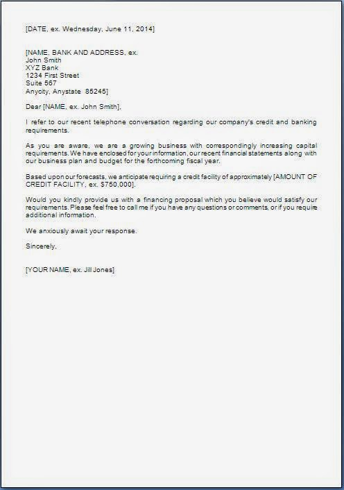 request letter to bank for loan