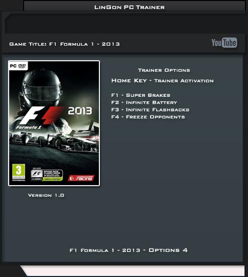 F1 2013 v1.0 Trainer +4 [LinGon]