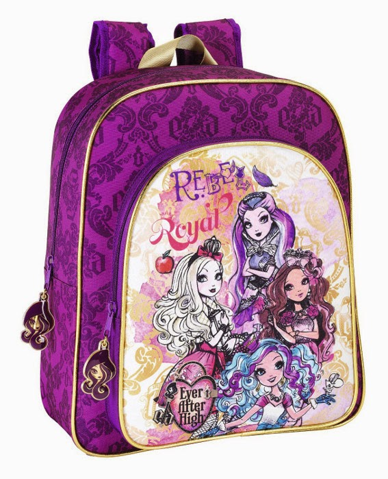 MOCHILA - Ever After High - Mochila junior adaptable a carrito  Medidas : 32 x 38 x 12 cm | Safta 611407640