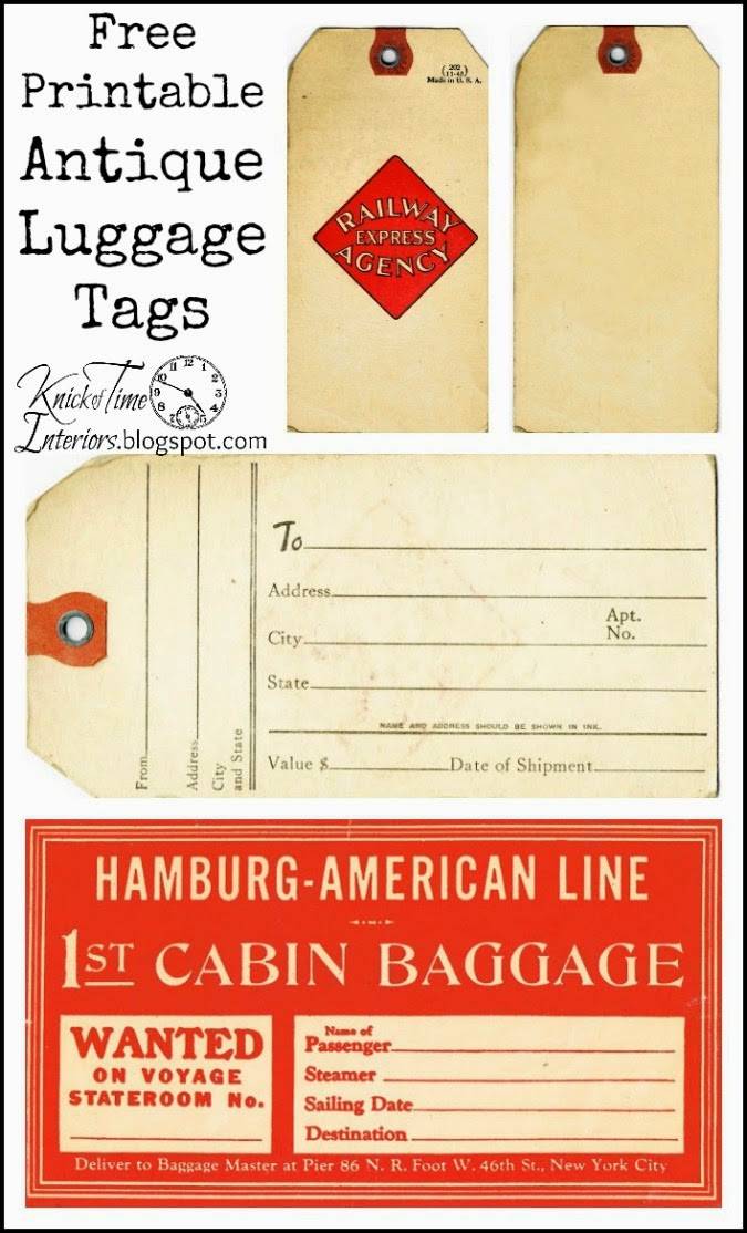 Luggage Shipping Hang Tags via http://knickoftimeinteriors.blogspot.com/