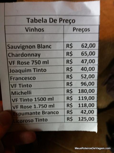 Tabela de preços da vinícola Villa Francioni - São Joaquim/SC