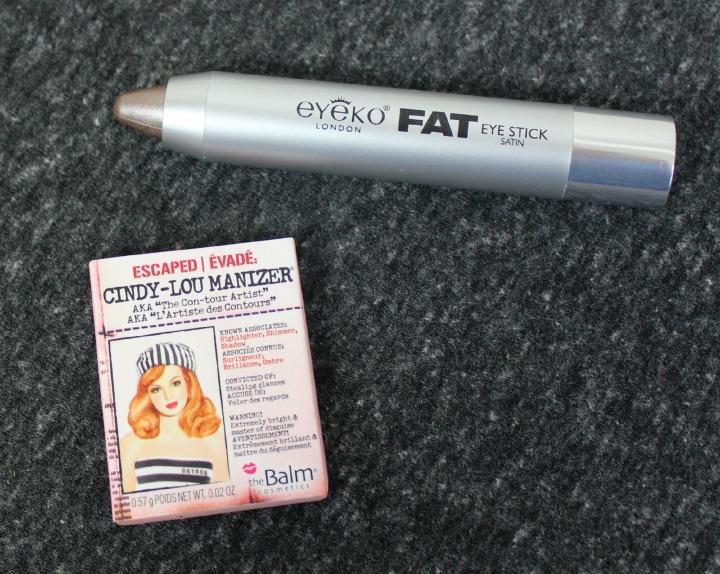 Eyeko Fat Eye Stick in Satin Taupe theBalm® cosmetics Cindy-Lou Manizer® sample