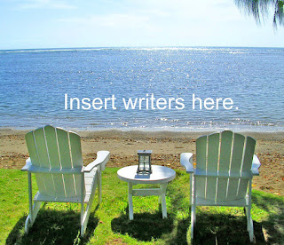 "Two chairs by the lake with words ""Insert Writers Here"""