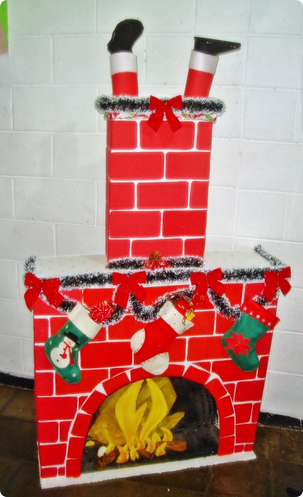 Manualidades rene chimenea navide a otra vez - Decoracion hecha en casa ...