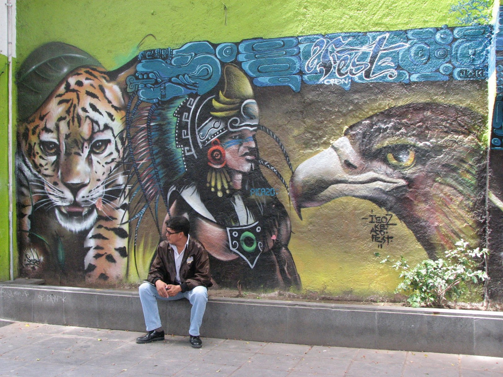 Jim carole 39 s mexico adventure puebla part 6 rambling for Aztec mural painting