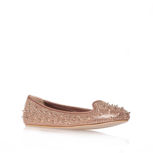 Kurt Geiger rose gold metallic spike and stud loafers