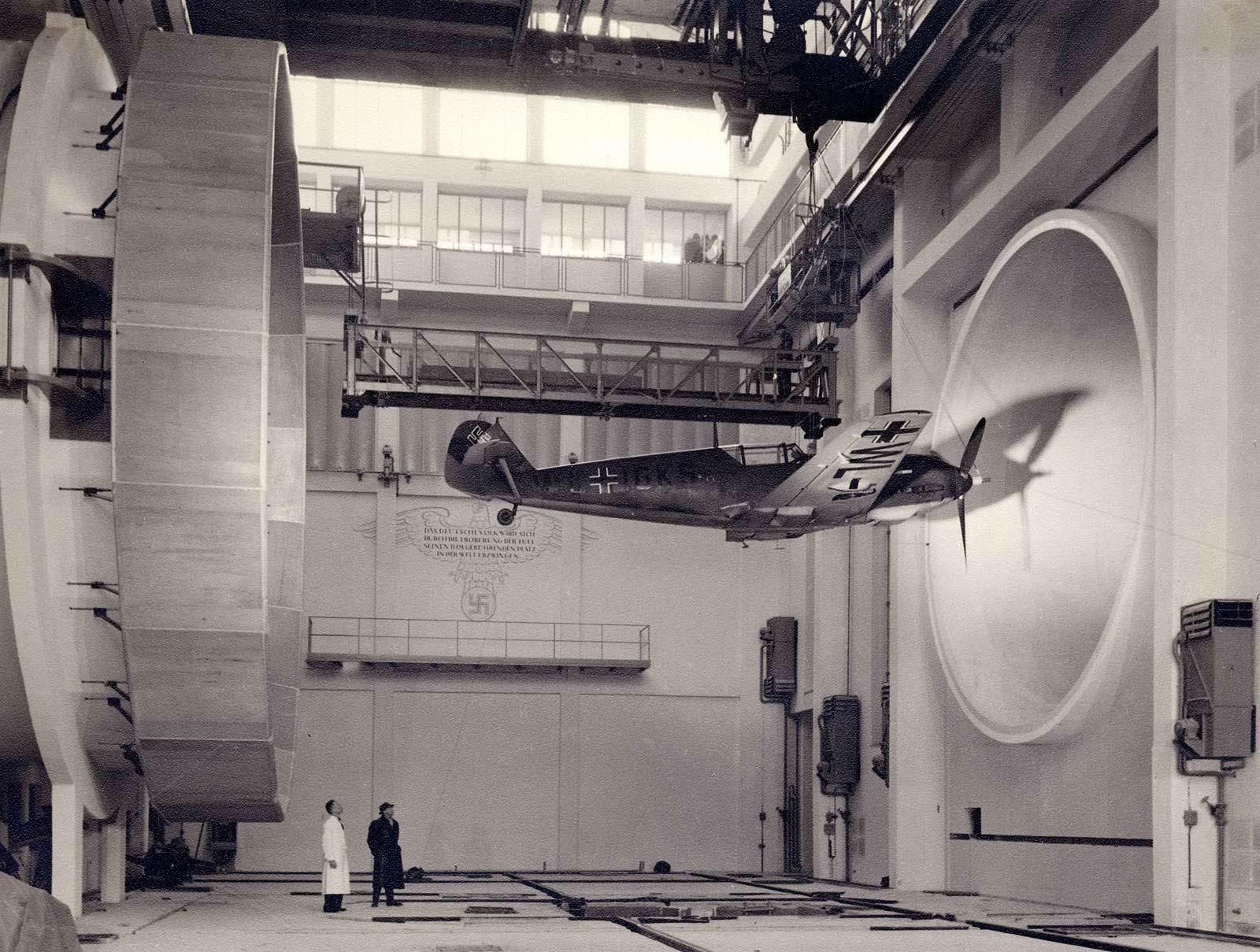 German scientists testing a Messerschmitt Bf 109, 1940.