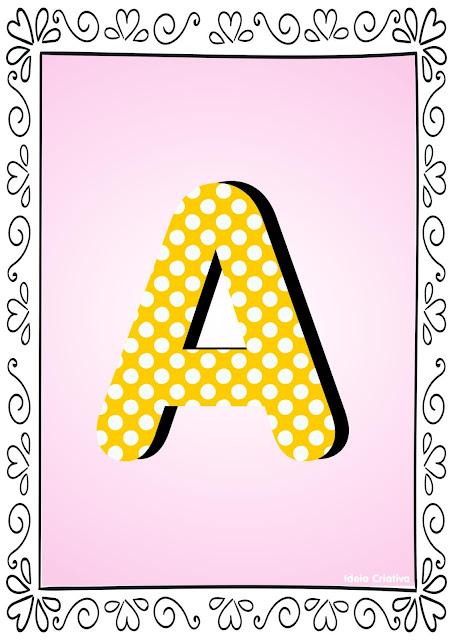 Alfabeto Poá Colorido com Borda Letra A