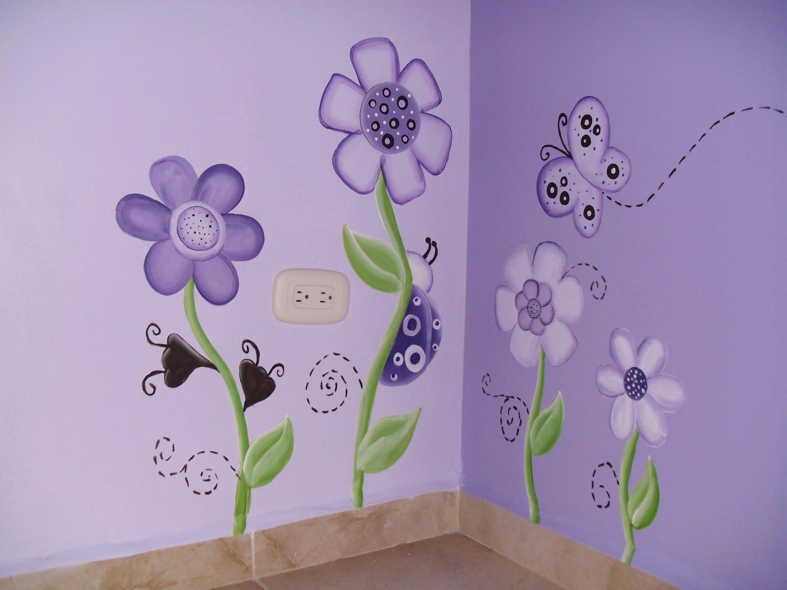 Murales infantiles mariposas y catarinas purpura - Murales para ninas ...