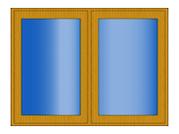 Obrazek okna wykonany w programie gimp z deseniami i gradientami