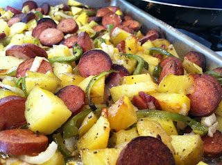 Quick and easy roasted potatoes and sausage