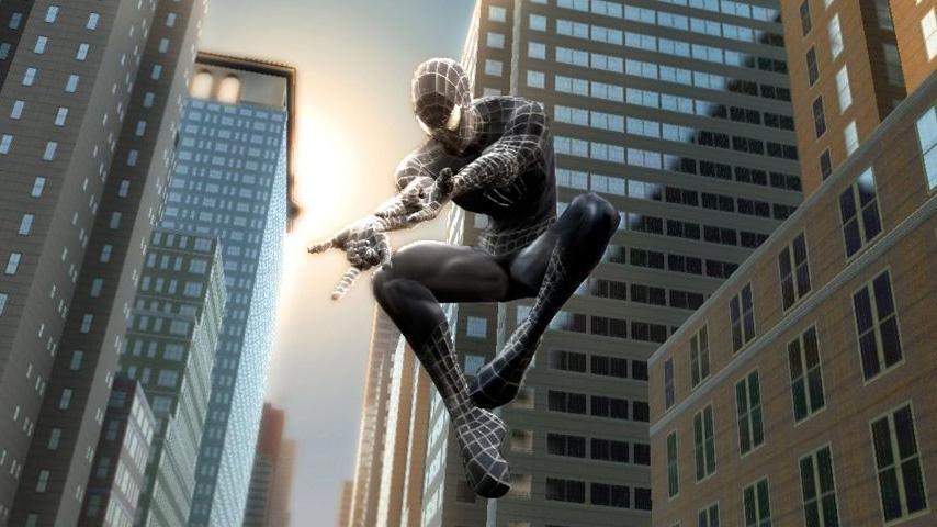 city man screensaver spider swinging through Support