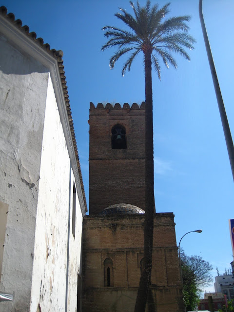 Palm tree and building in Seville, Spain.