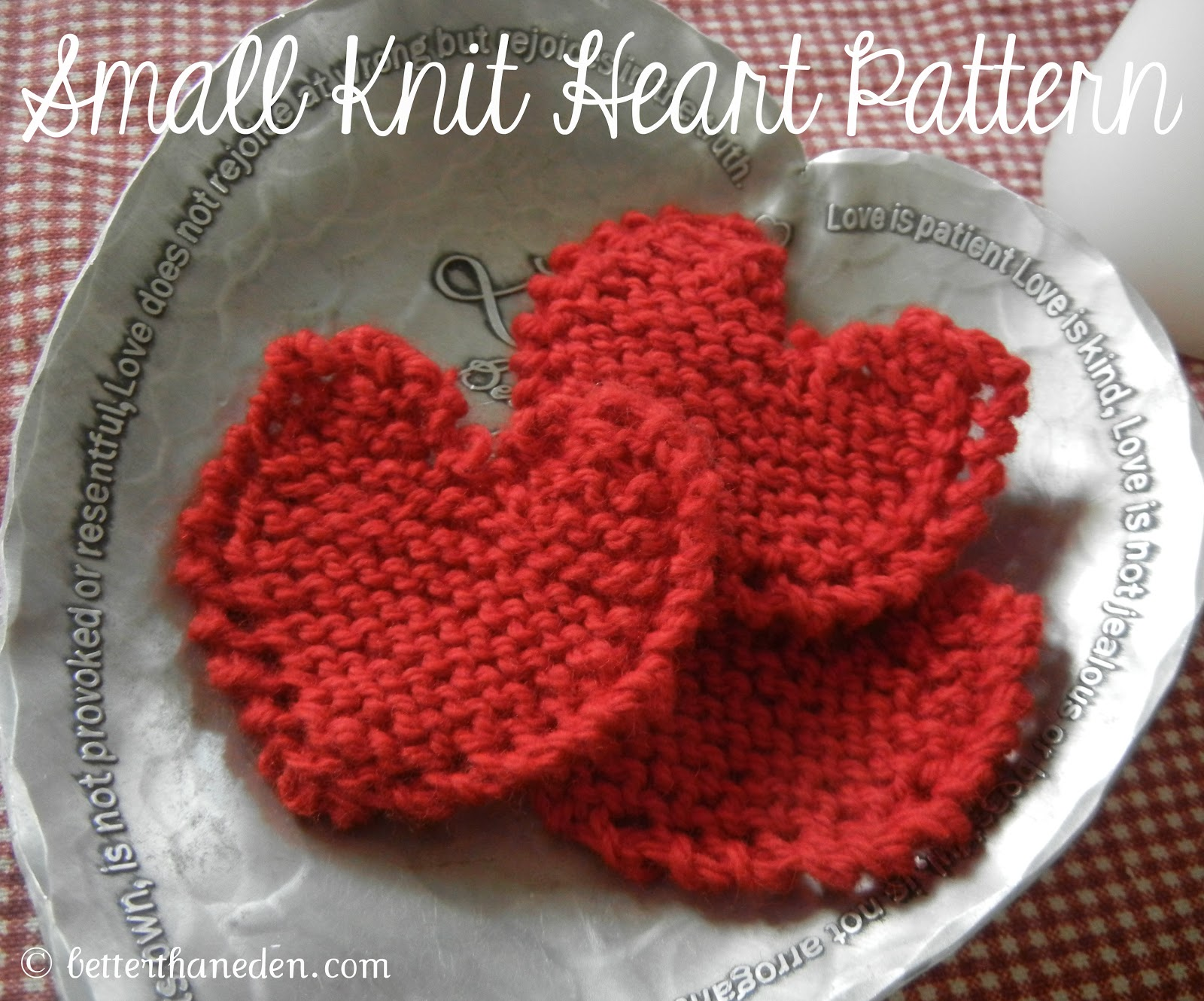 Knitting Patterns For Scarves Free : Pattern for a Small Knit Heart - Better Than Eden