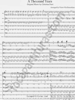 1 Partitura de A Thousand Years para pequeña banda. Partitura para los instrumentos musicales piano, violín, viola, violonchelo, contrabajo, bajo eléctrico y batería.  1ª Hoja de Música Partitura A thousand years