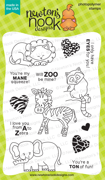 Wild About Zoo - 4x6 Zoo Animals Valentine Stamp set by Newton's Nook Designs