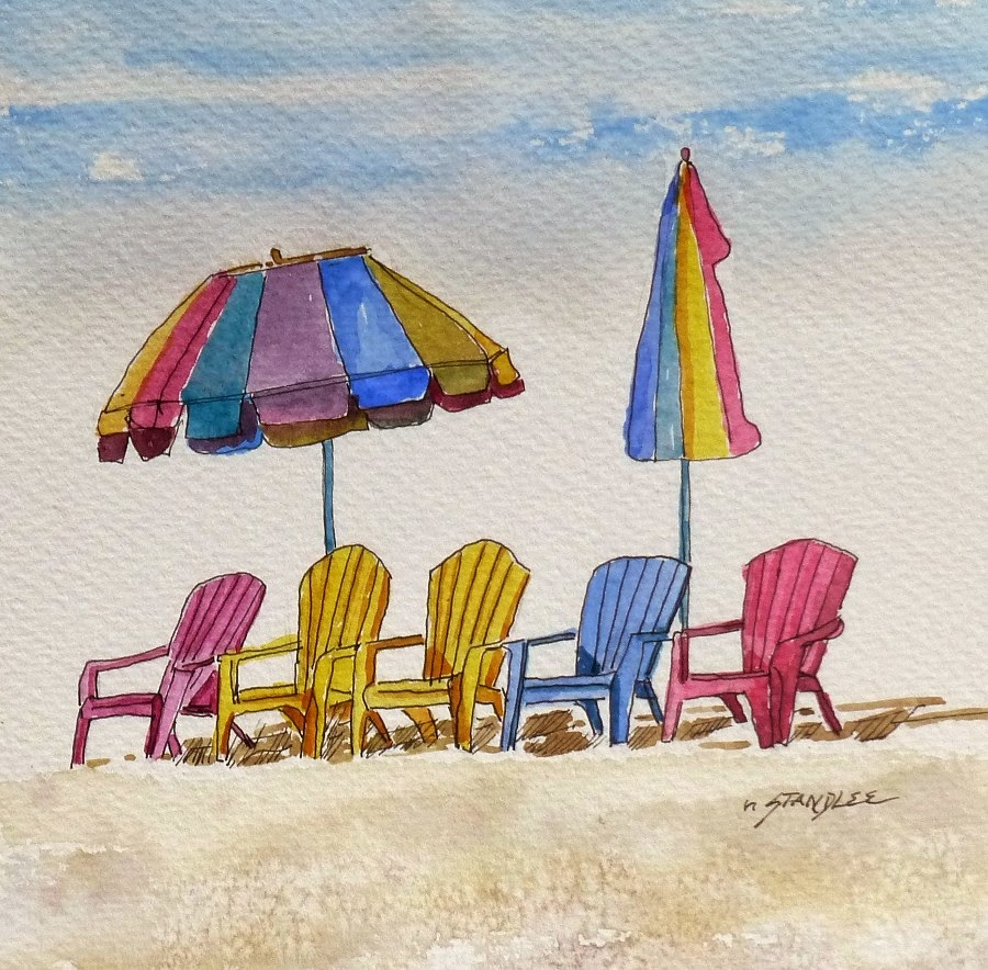 Beach chair with umbrella painting - Chair Precision 13097