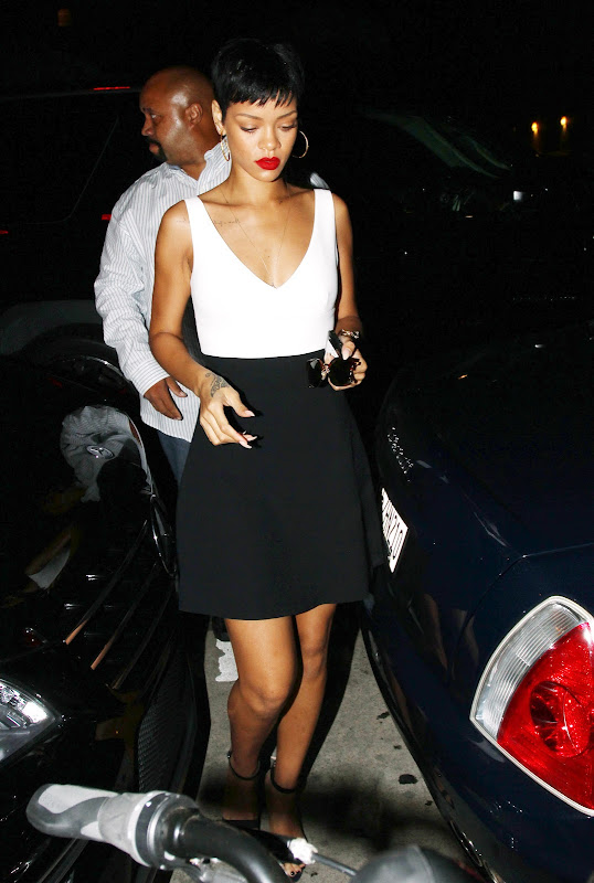 Rihanna seen leaving Giorgio Restauranrt in LA