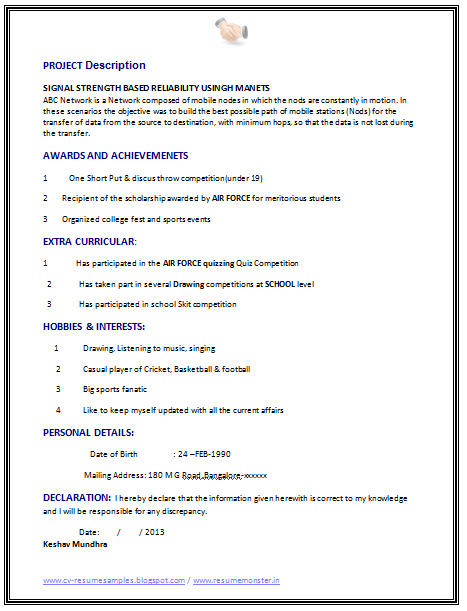 Resume Format For Freshers Engineers Download Upon