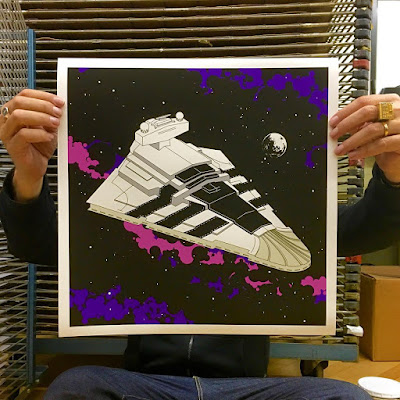 "Designer Con 2015 Exclusive Star Wars x Adidas ""Superstar Destroyer"" Screen Print by Bill McMullen x Munky King"