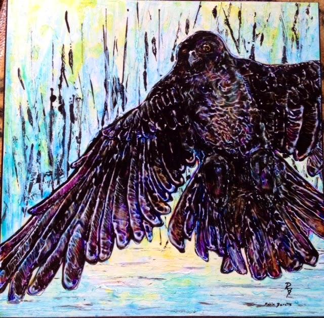 painting, crow, acrylic Robin Baratta