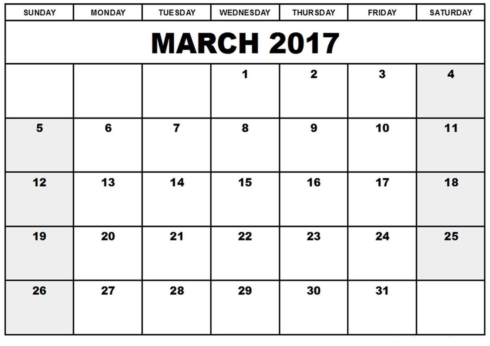 Blank Calendar March 2017 – Printable Editable Blank