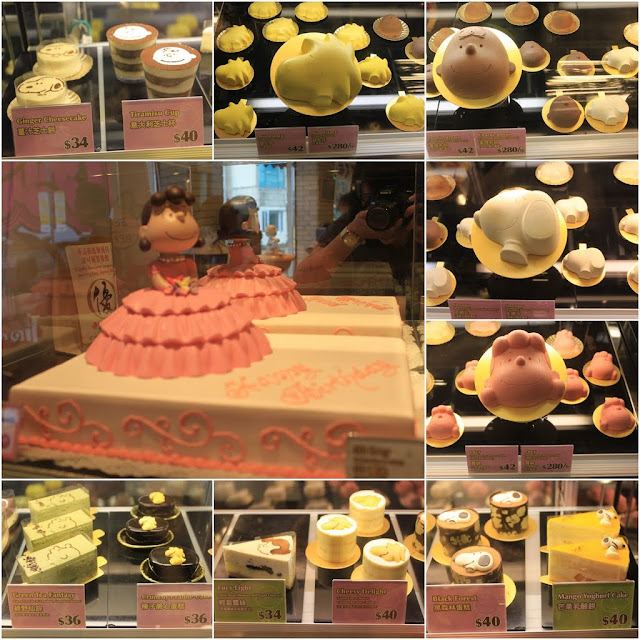 Cakes with different characters at Charlie Brown Cafe in Tsim Sha Tsui, Kowloon, Hong Kong