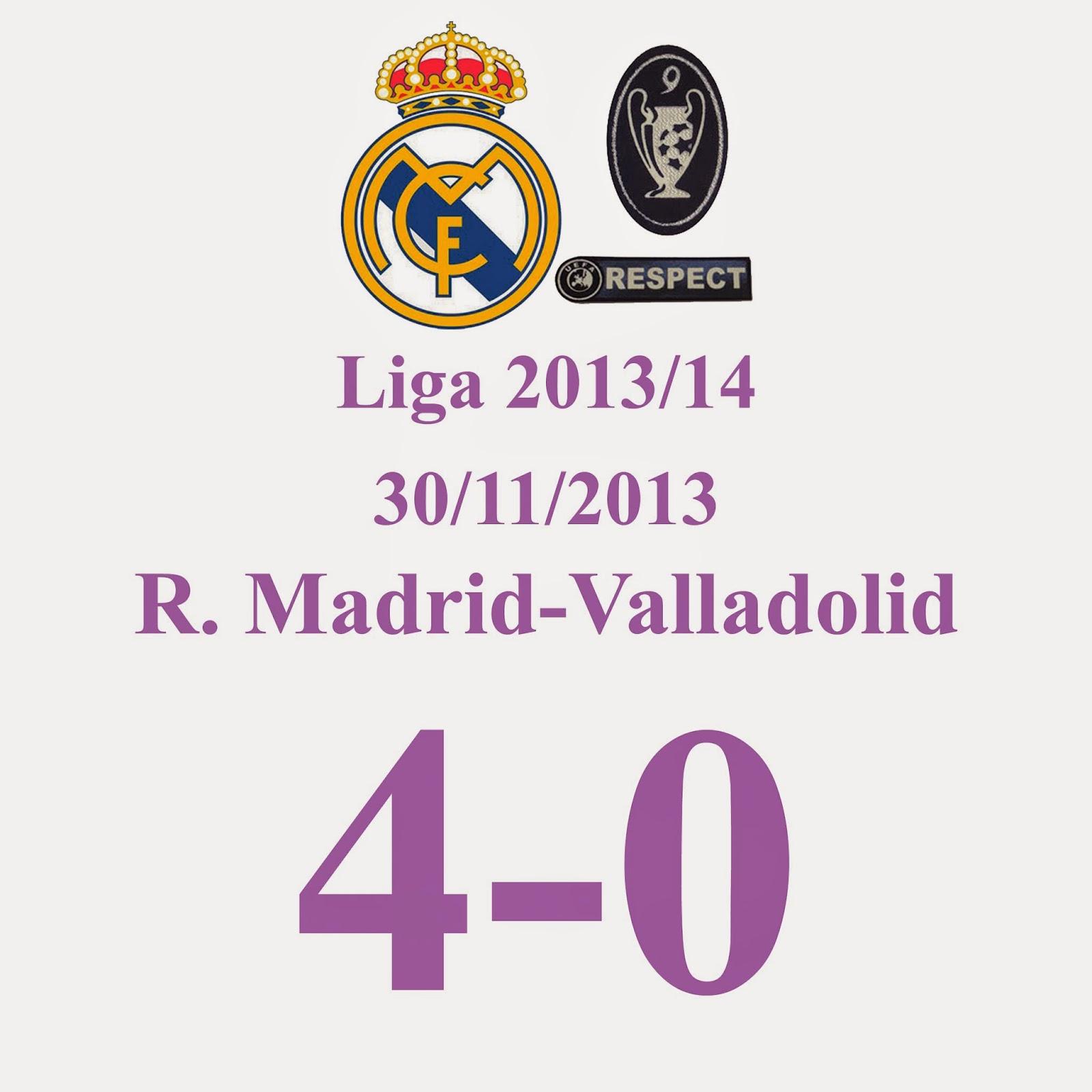 Real Madrid 4 - 0 Real Valladolid (Jornada 15) 30/11/2013 Hat-Trick de Gareth Bale