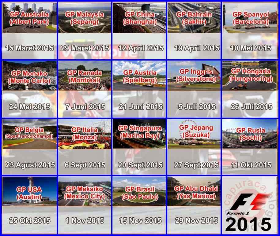 Jadwal lengkap formula 1 Musim 2015