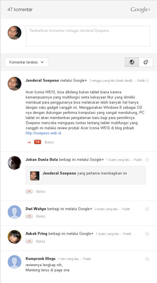 Google+ Comment for Blogger