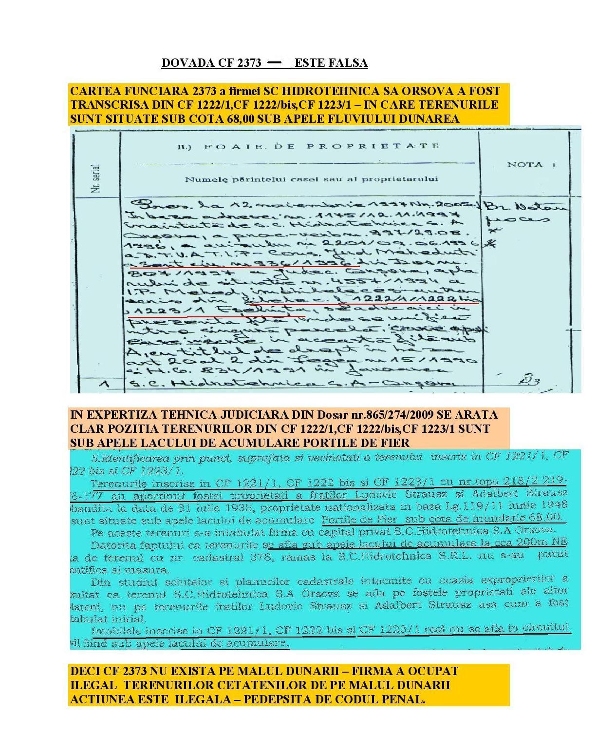 CARTEA FUNCIARA FALSA CF 2373