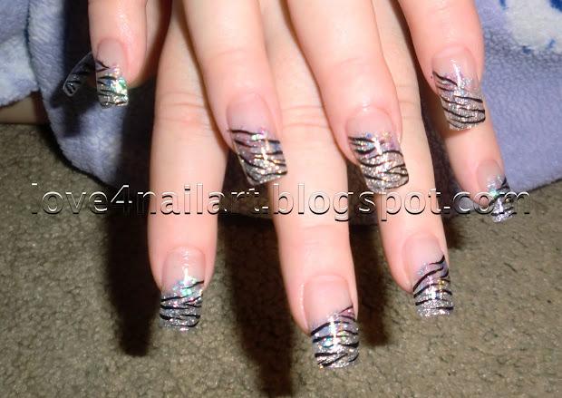 love4nailart zebra glitter acrylic