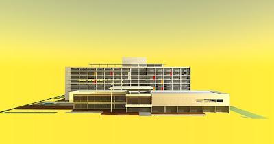 A fotografia em fundo amarelo mostra a maquete de um hotel de luxo moderno, o hotel Furiel Bela Vista. O projeto apresenta dois  prédios retangulares: um de dois pavimentos na parte frontal do terreno, destacado por linhas arquitetônicas horizontais e que  contem a recepção, lounge, café e restaurante e também um centro de eventos. Atrás do prédio frontal há outro, maior, composto  por sete pavimentos onde estão localizados os apartamentos. A entrada do hotel tem portas de vidro e fica na parte central do  prédio frontal que avança formando uma saliência com dois degraus em concreto para o acesso e estão entre decks de madeira,  sendo o deck da direita, mais alto. A fachada do prédio frontal é composto à esquerda por janelões envidraçados e à direita,  por uma parede em concreto sustentada por seis colunas com quatro aberturas superiores retangulares localizadas na  extremidade direita. Acima, o teto é reto. No pavimento superior, sobrepostos em quase toda altura dos janelões há uma  grade horizontalizada vermelha destacando a fachada, a grade, ocupa toda extensão envidraçada. O piso externo é formado  por um deck em madeira que começa estreito na lateral esquerda e aumenta acompanhando a saliência quadrangular do prédio, onde um teto suspenso apoiado por uma coluna protege parte do prédio central e superior esquerdo. Atrás, o outro prédio, é  composto por sete pavimentos e abriga todos os apartamentos. Toldos amarelos e placas coloridas em vermelho e amarelo  intercalam e realçam o segundo, quarto, quinto e sexto andares. No topo, há uma cobertura aérea sustentada por oito colunas  abrangendo parte do terraço. No térreo, localizam-se uma academia de ginástica com piscina térmica, área social e de descanso  e um refeitório para os funcionários. À esquerda dos dois prédios, há uma grande piscina quadrada e ambientes ao ar livre   formados por vegetação e canteiros. Fim da descrição.
