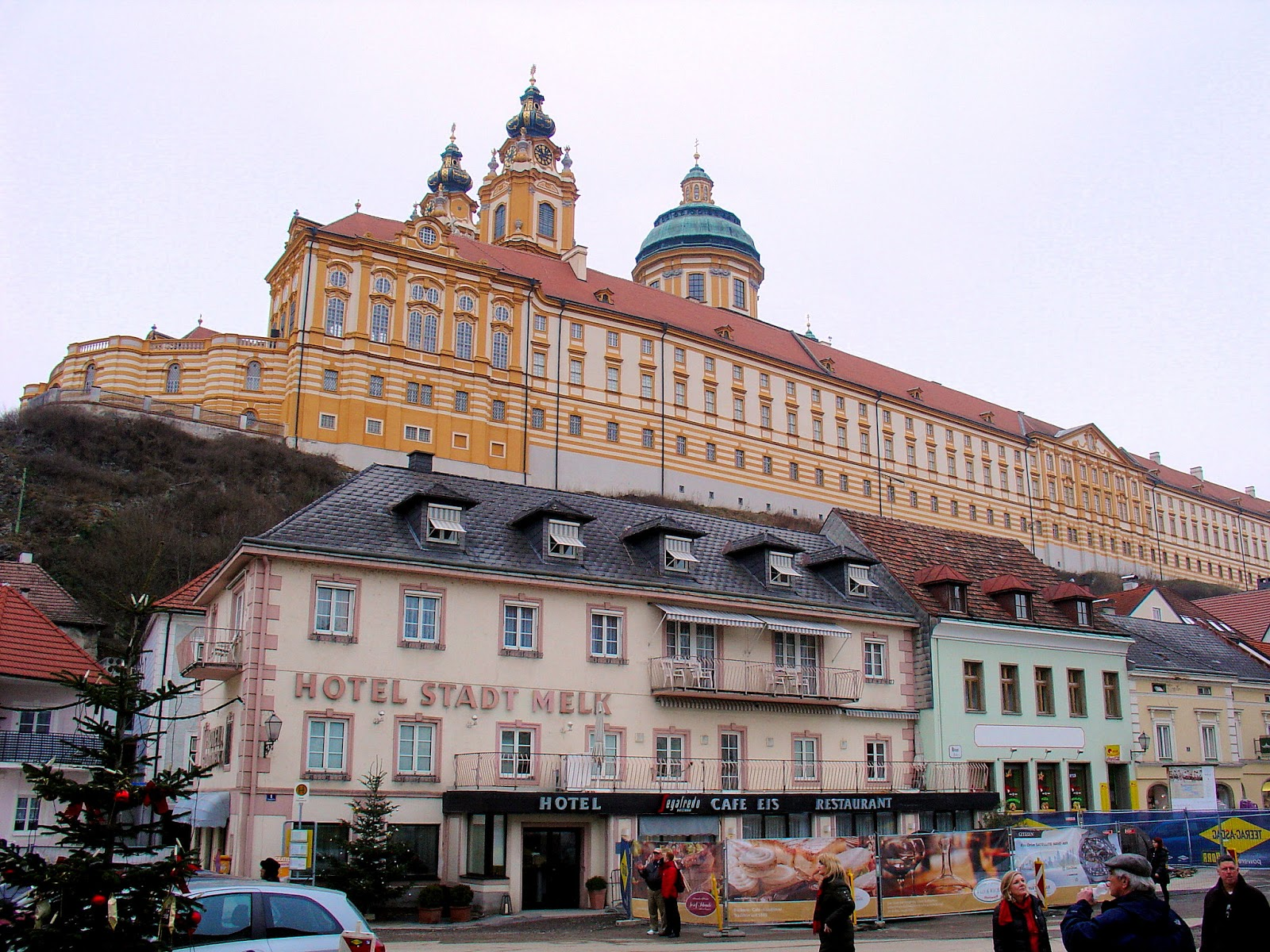 The imposing Melk Abbey looms over the tiny village of Melk below.