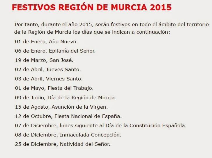 FESTIVOS REGIÓN DE MURCIA 2015